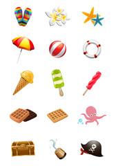 Set of summer icons. Summer beach elements