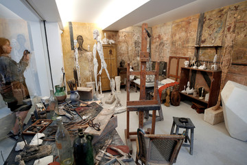A reconstruction of the Alberto Giacometti's parisian studio is pictured during the press preview of the Giacometti Institute in Paris