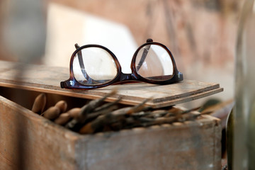 Glasses of Alberto Giacometti are pictured in a reconstruction of the artist's parisian studio during the press preview of the Giacometti Institute in Paris