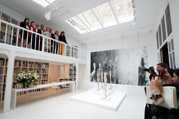 Members of the Giacometti Institute pose for a photograph during the press preview of the Giacometti Institute in Paris