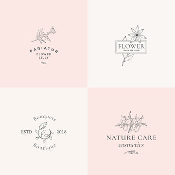 Abstract Floral Vector Signs or Logo Templates Set. Retro Feminine Illustration with Classy Typography. Premium Flower Emblems for Beauty Salon, SPA, Wedding Boutiques, Care Cosmetics, etc.