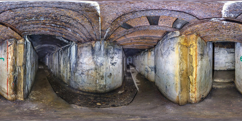 Full seamless 360 degrees angle  view panorama inside abandoned military fortress of the First World War in the forest in equirectangular spherical projection. Ready for VR AR content