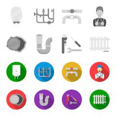 Sewage hatch, tool, radiator.Plumbing set collection icons in monochrome,flat style vector symbol stock illustration web.