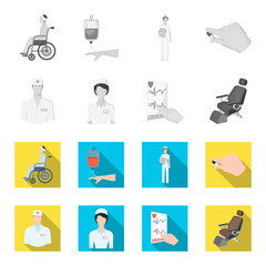The attending physician, the nurse, the cardiogram of the heart, the dental chair. Medicineset collection icons in monochrome,flat style vector symbol stock illustration web.