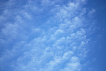 white clouds on a blue sky at dawn.
