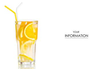 Glass lemonade lemon orange pattern on white background isolation