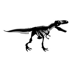 Dinosaur skeleton T rex icon black color illustration flat style simple image