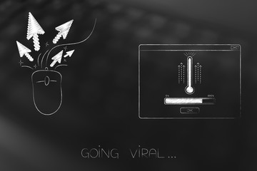 go viral clickrate icon next to pop-up message with thermometer and progress bar loading