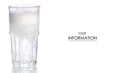 Glass carbonated water pattern on white background isolation