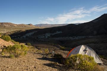 camping at Bolivian highland