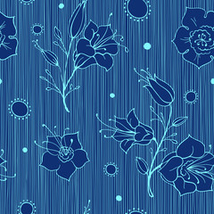 Outline Seamless Vector Pattern with Flowers of Harebell and Abstract Ornament