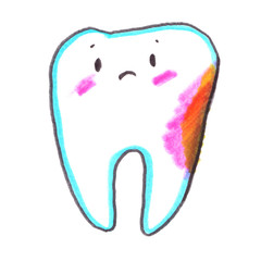 Cute cartoon character. Confused sad dirty molar tooth with cavity painted in highlighter felt tip pen on clean white background