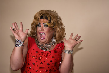 Funny drag queen. Travesty actor.