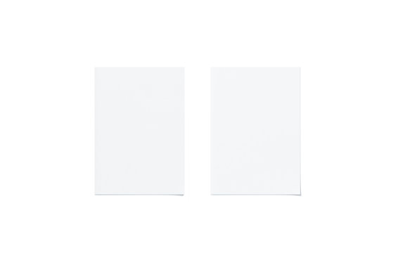 Blank white a5 flyer mock up set, top view, isolated, 3d rendering. Two clear brochures mockup. Clear flier paper sheet template. Clean promotional booklets