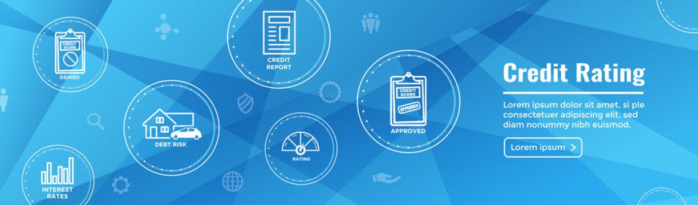 Credit Rating Header Web Banner with Debt, Credit Card, & Credit Score Icon Set