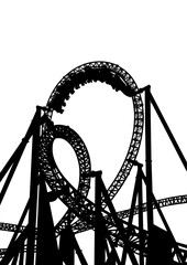 High roller coaster for a ride on a white background