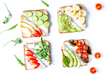 homemade sandwiches composition on white table background top vi