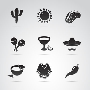 Mexican icon set. Symbols of Mexico. Vector art.