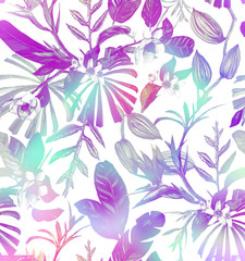 Seamless watercolor pattern with tropical flowers, magnolia, orange flower,  tropical leaves, banana leaves