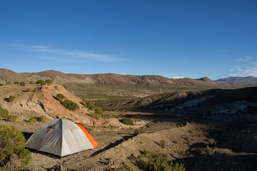 Tent on bolivian's mountains