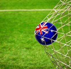 Fussball mit australischer Flagge