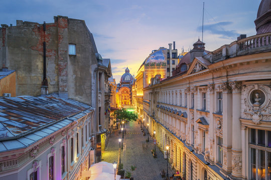 Bucharest Old Town at Dusk - Romania