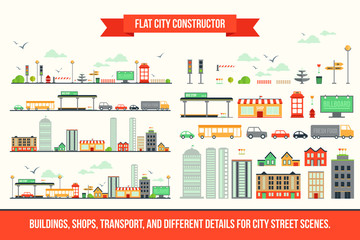 Create your own city - flat constructor kit. Huge collection of infographic vector elements. Set of buildings, shops, transport and different details for street scenes, app and game design