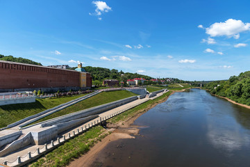 Panoramic summer view of the embankment of the Dnieper River in Smolensk, Russia