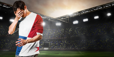 Panama national team. Sad soccer or football player on stadium