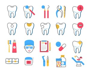 Dentistry icons set trendy linear style. Dental clinic services, stomatology and orthodontics symbols. Teeth treatment and restoration. Dentist tools, healthy and broken tooth, medicines, dental floss
