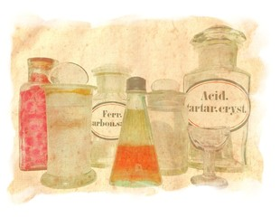 Antique Medicine Pharmacy BOTTLES, Eye Wash Glass Cup and two Bottles with Label of Ferrous Carbonate Saccharated and Tartaric Acid Crystals on Original Antique PARCHMENT PAPER Texture