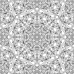Seamless pattern. Linear black and white background