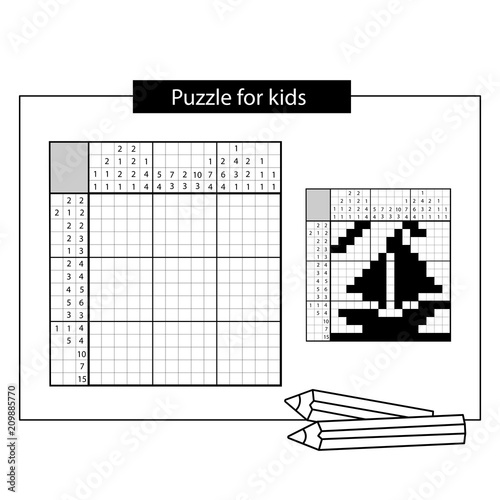 Ship Black And White Japanese Crossword With Answer Nonogram With