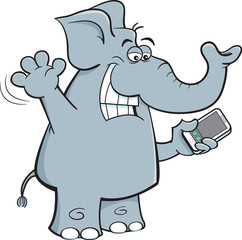 Cartoon illustration of an elephant holding a cell phone.