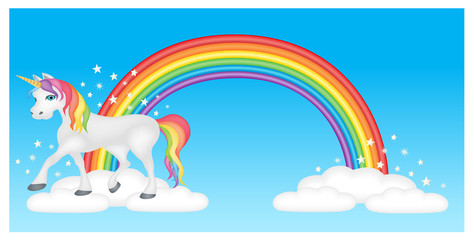 Unicorn with rainbow, clouds and magical stars in blue sky
