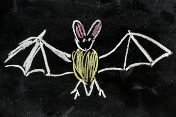 CHalk hand drawing as bat shape on black board background