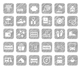 Travel, vacation, tourism, vacation, icons, pencil shading, white, vector. Different types of holidays and ways of travelling. White icons on a grey shaded field. Simulation of shading.