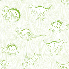 Seamless pattern with  cartoon dinosaurs on a background of ferns. Monochrome vector illustration.