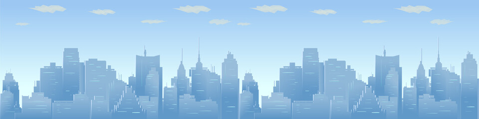 City skyline vector illustration. Urban Panorama, daytime cityscape in flat style