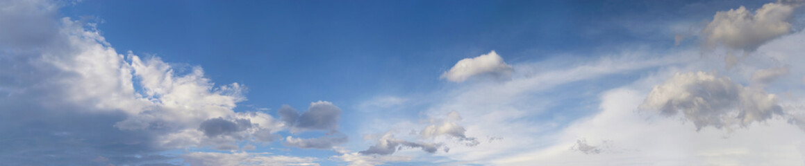 Blue sky with fluffy clouds. Panorama sky background