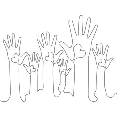 Continuous line Hands volunteering concept