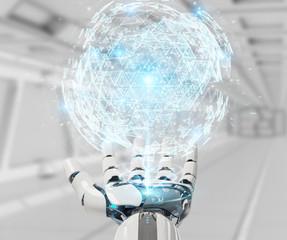 White robot hand using digital triangle exploding sphere hologram 3D rendering