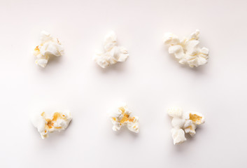Collection of cooked popcorn isolated on white background