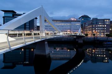 Tradeston Bridge at dusk, Glasgow, United Kingdom