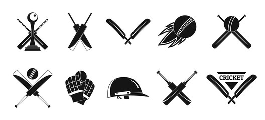 Cricket sport ball bat logo icons set. Simple illustration of 10 cricket sport ball bat logo vector icons for web