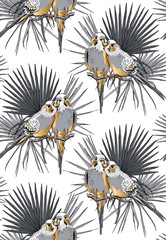 Seamless gold and silver pattern. Two Beautiful little Wavy Parrots kiss on a Tropical leaves. Vector illustration.