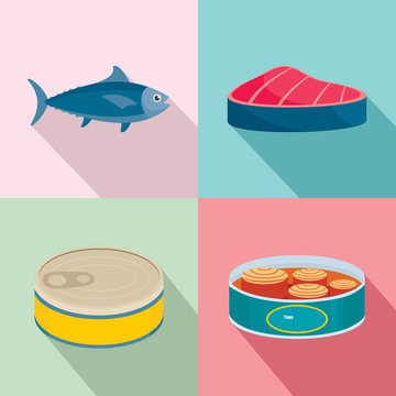 Tuna fish can steak icons set. Flat illustration of 4 tuna fish can steak vector icons for web