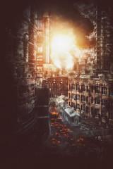 Catastrophic city explosion with burning debris