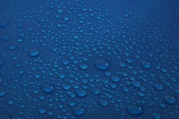 water drops on blue background texture