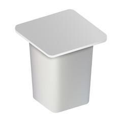 Yogurt closed box mockup. Realistic illustration of yogurt closed box vector mockup for web design isolated on white background